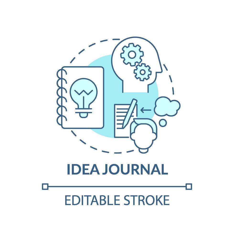 idé journal blå koncept ikon vektor
