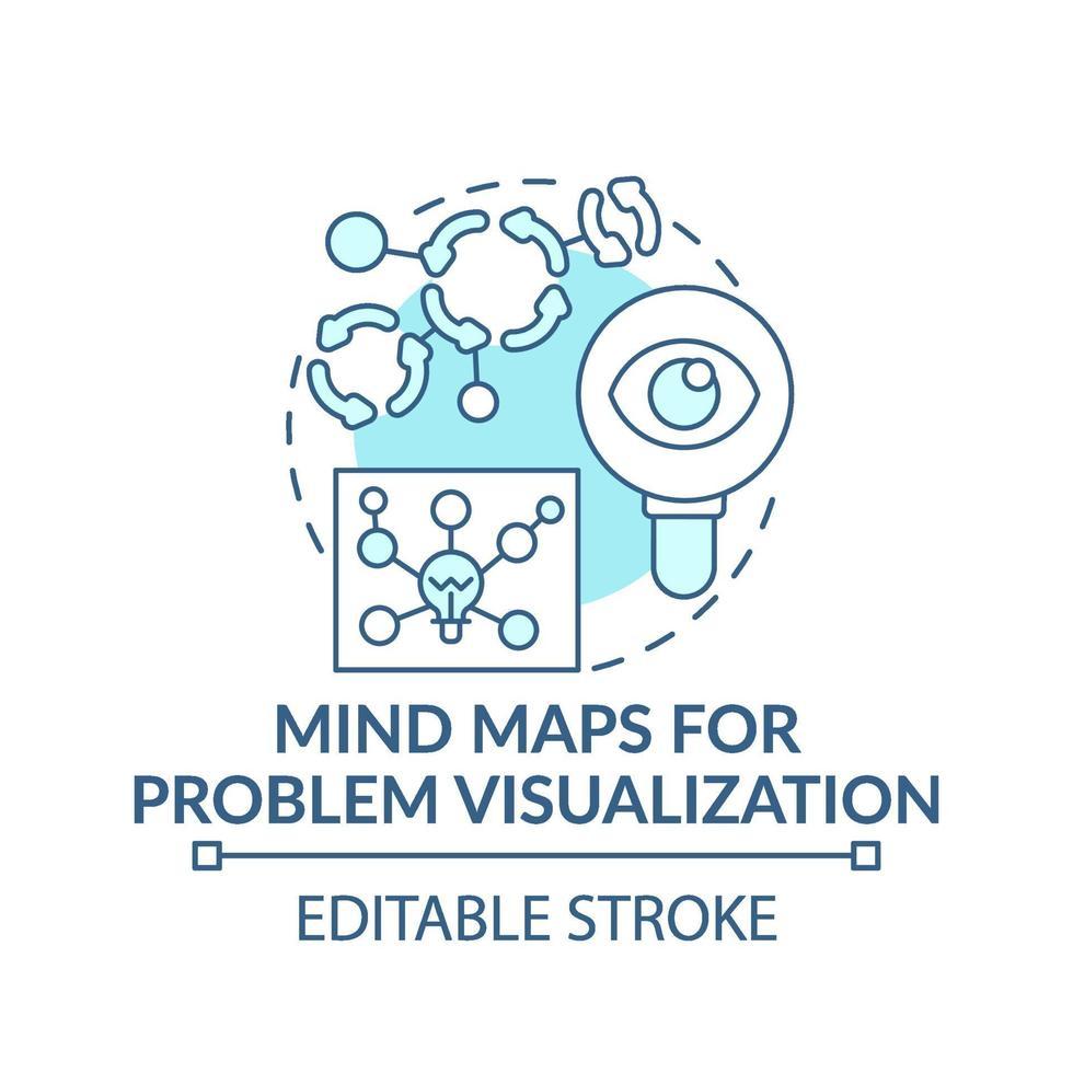 mind maps för problemvisualisering blå konceptikon vektor