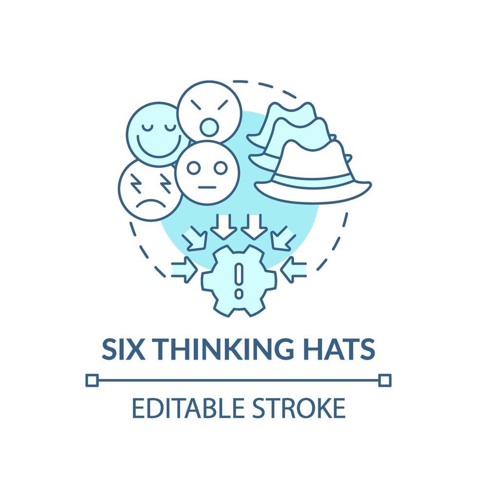 sex tänkande hattar blå konceptikon vektor