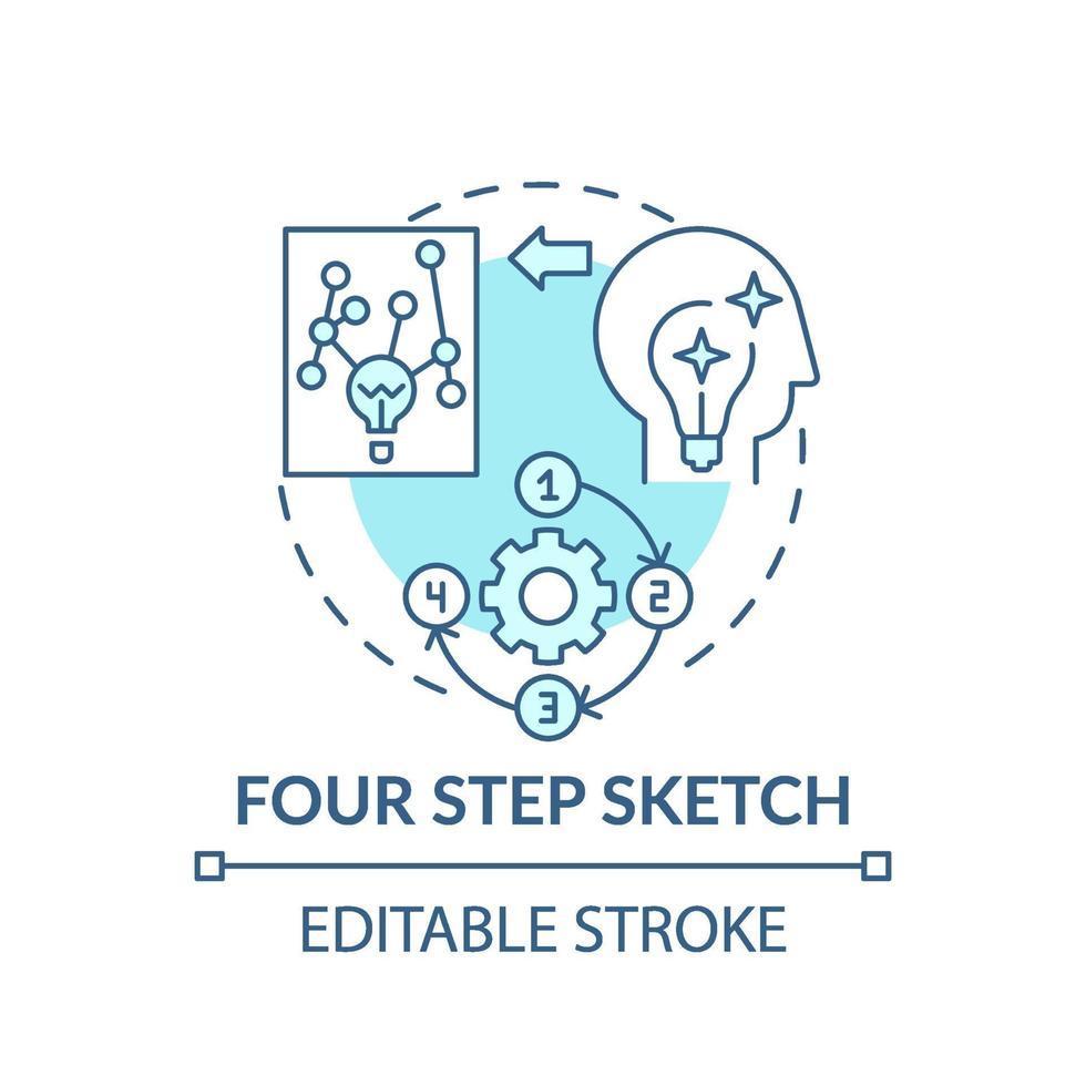 vierstufige Skizze blaues Konzeptsymbol vektor