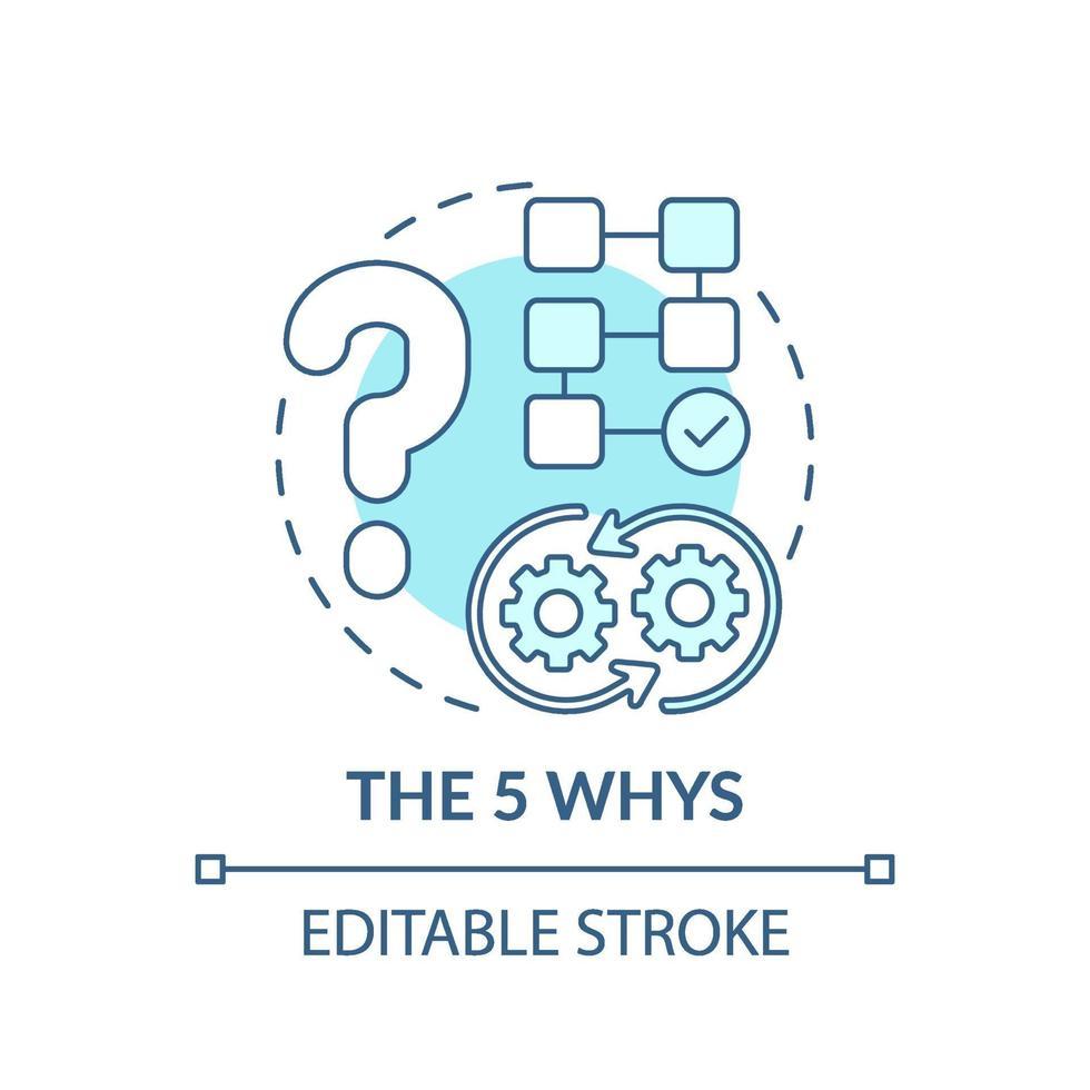den 5 varför blå konceptikonen vektor