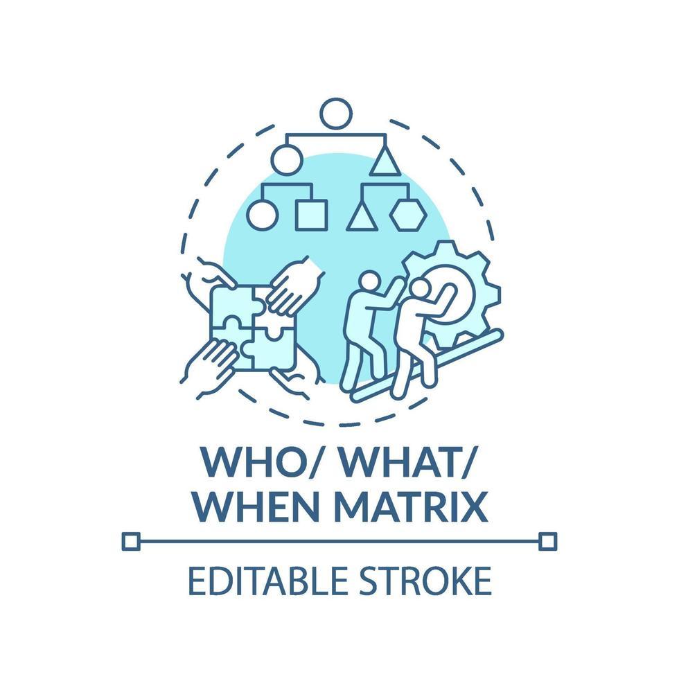 vem, vad, när matrisblå konceptikon vektor