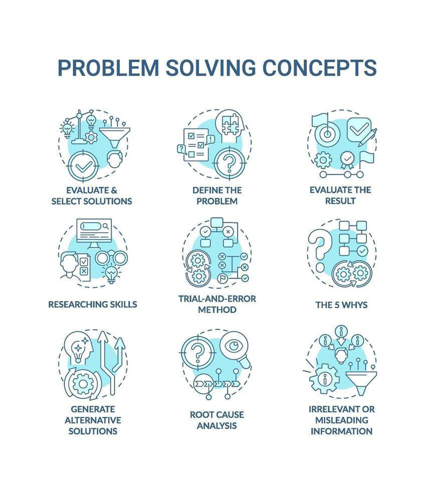 problemlösning blå koncept ikoner set vektor