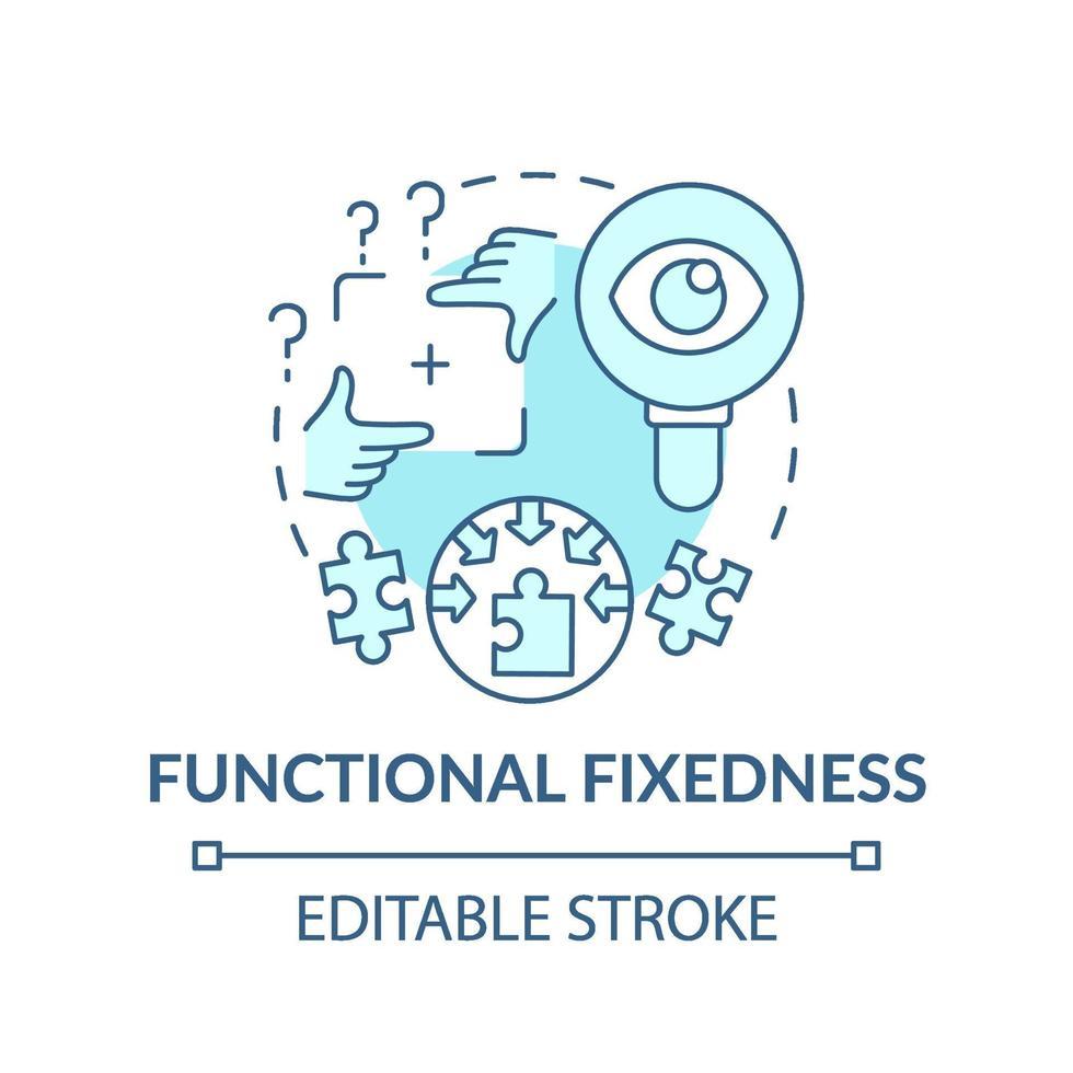 funktionale Fixierung blaues Konzeptsymbol vektor