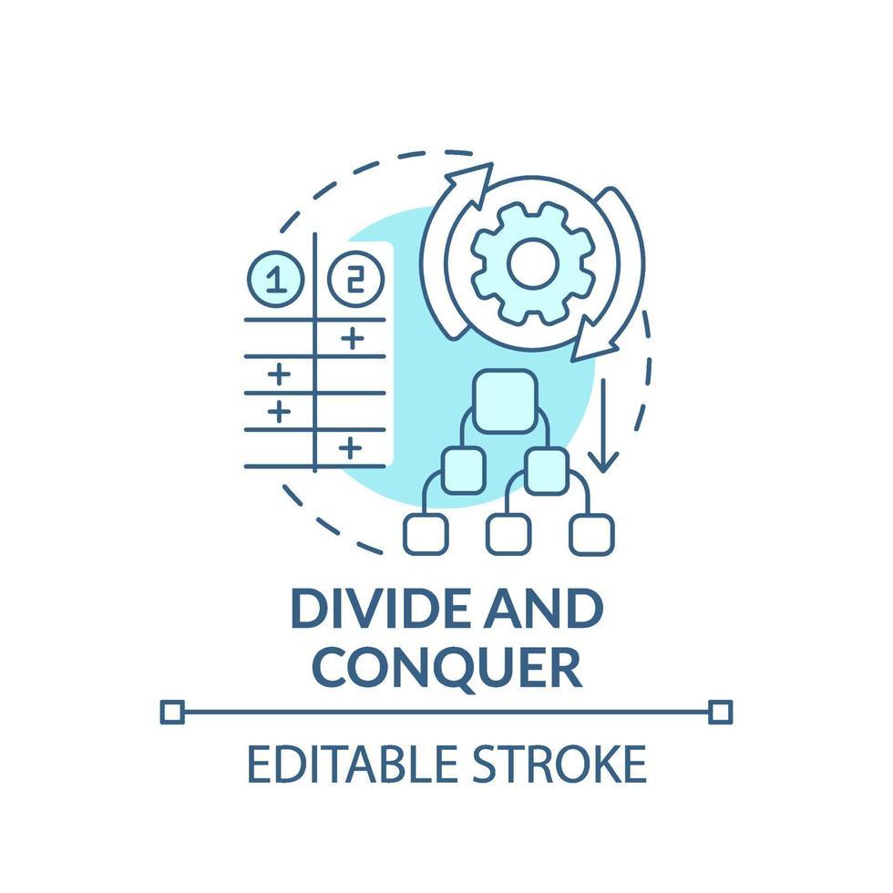 teile und erobere das blaue Konzeptsymbol vektor