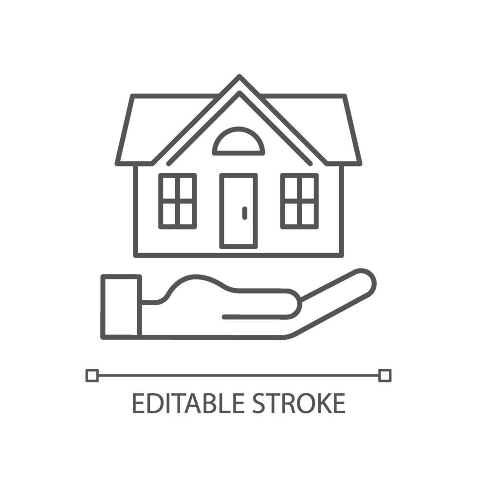 hemförsäkring linjär ikon vektor