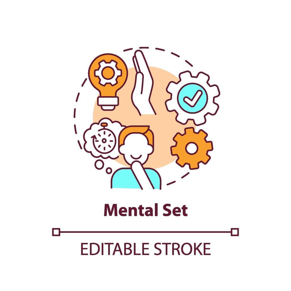 mental set koncept ikon vektor