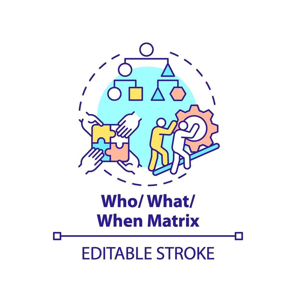 vem, vad, när matris koncept ikon vektor
