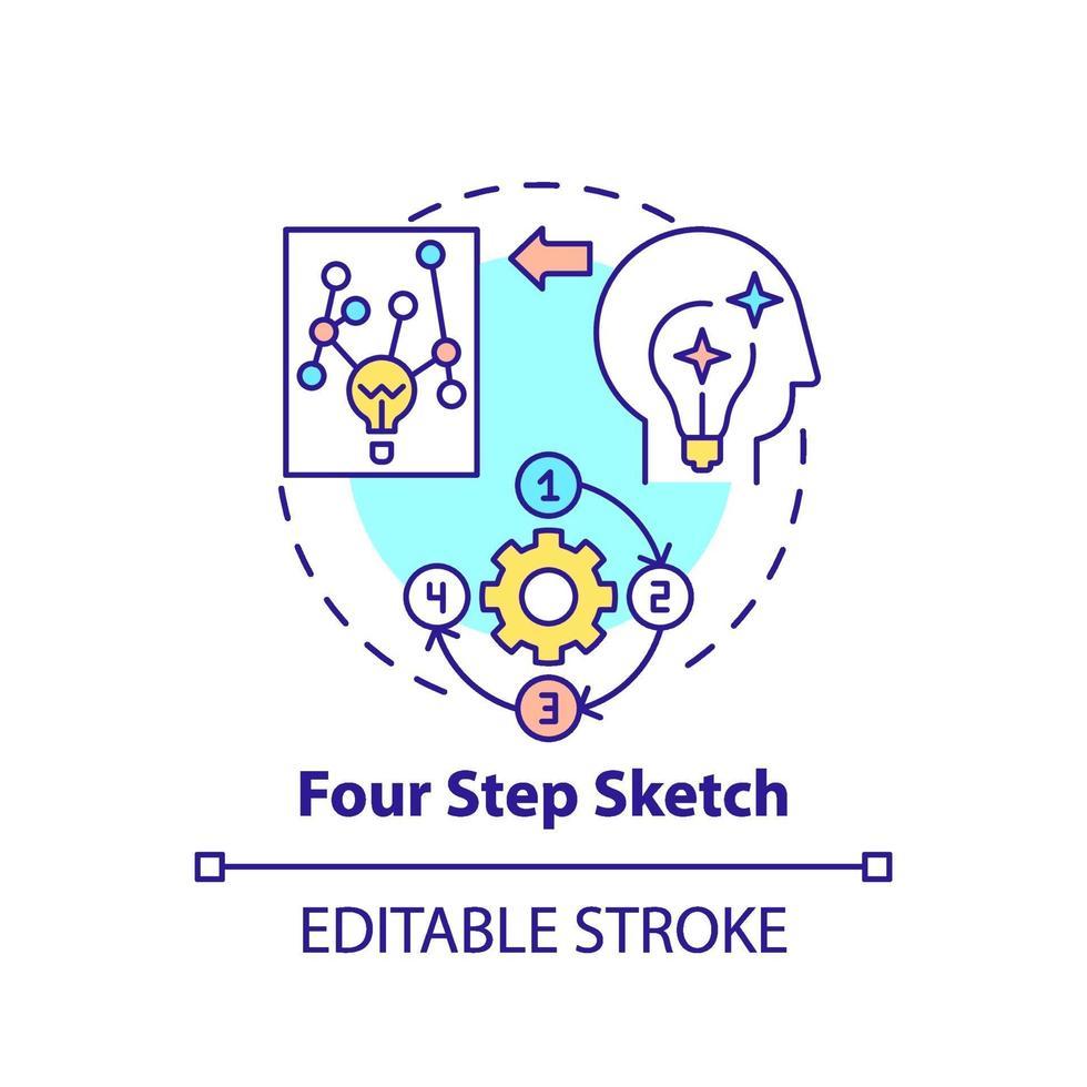 fyra steg skiss koncept ikon vektor