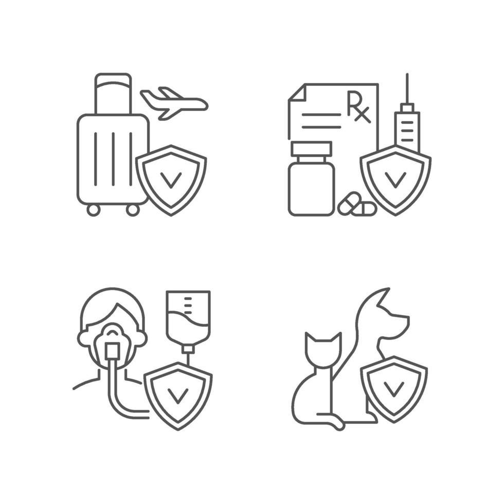 Versicherung und Schutz lineare Symbole gesetzt vektor