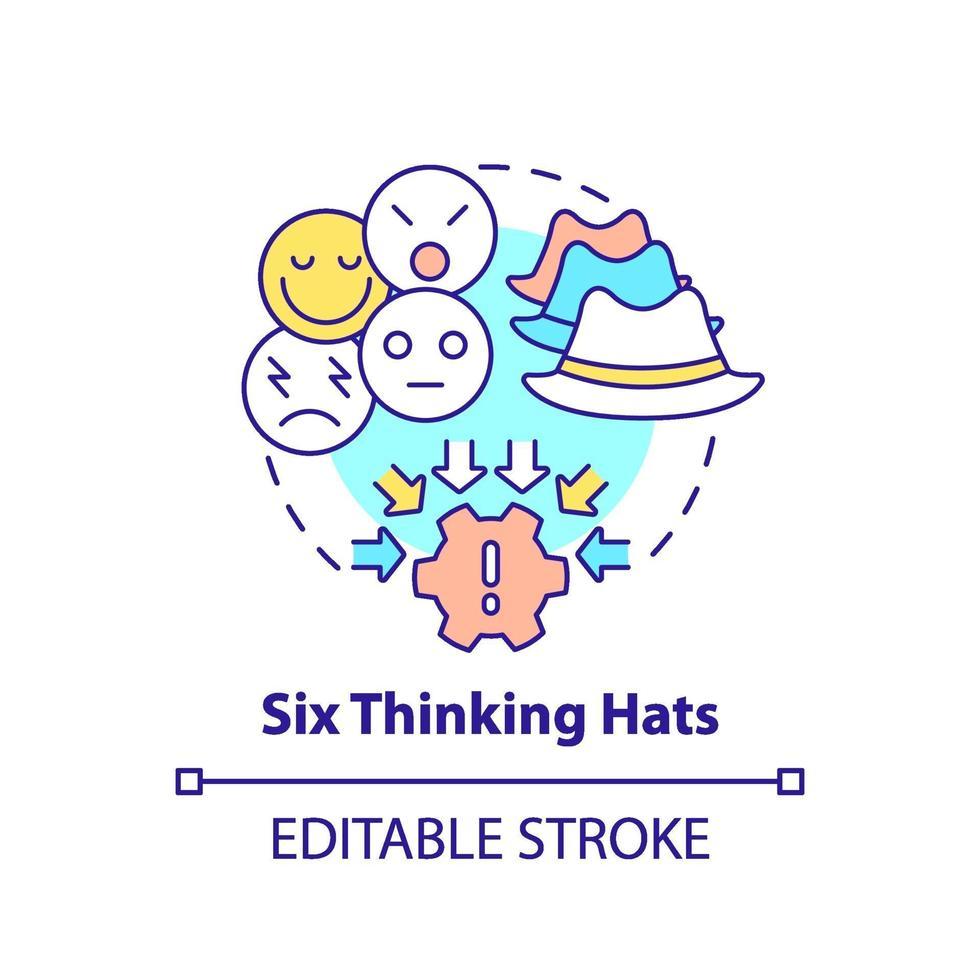 sex tänkande hattar koncept ikon vektor