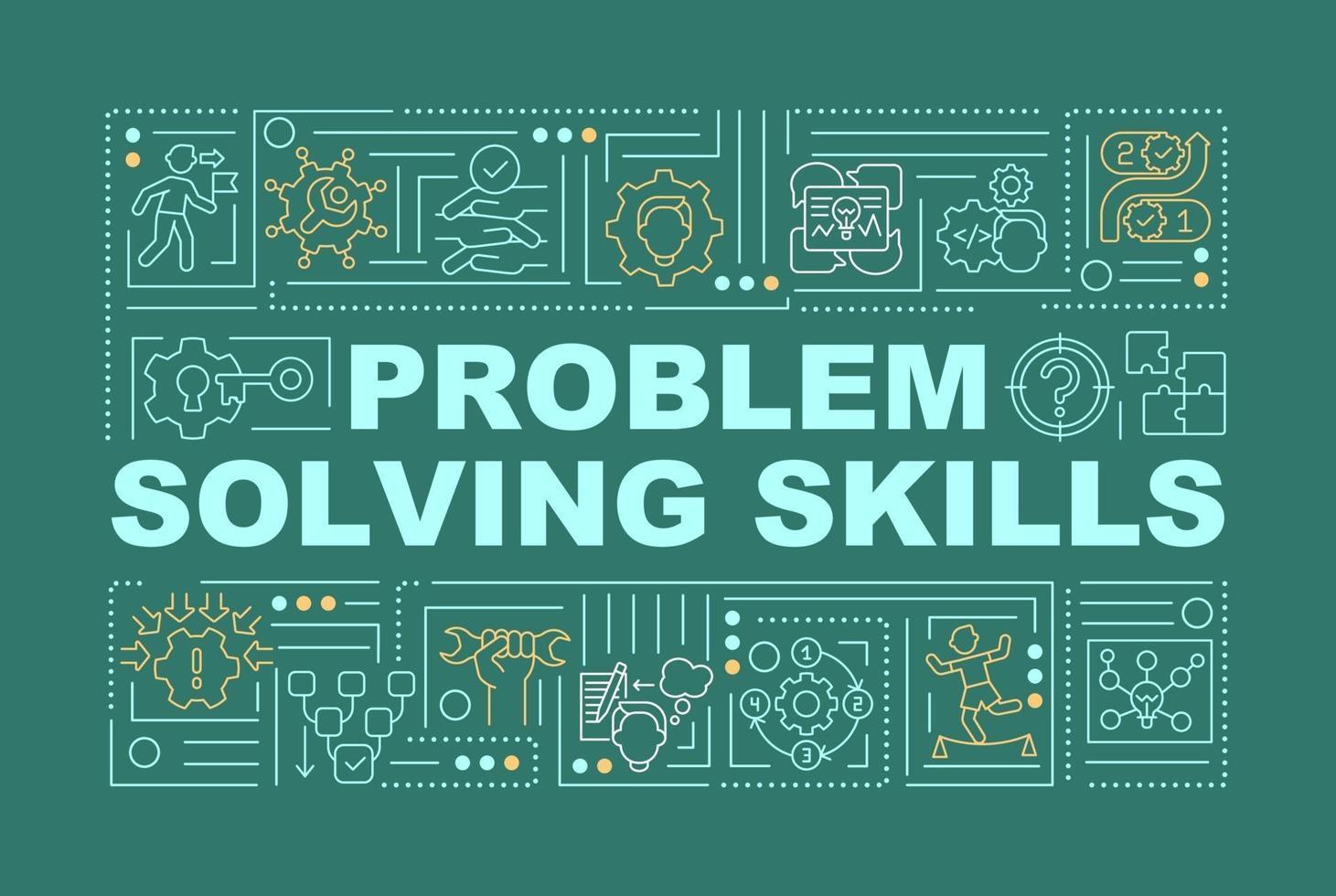 problemlösning färdigheter öka ordet begrepp banner vektor