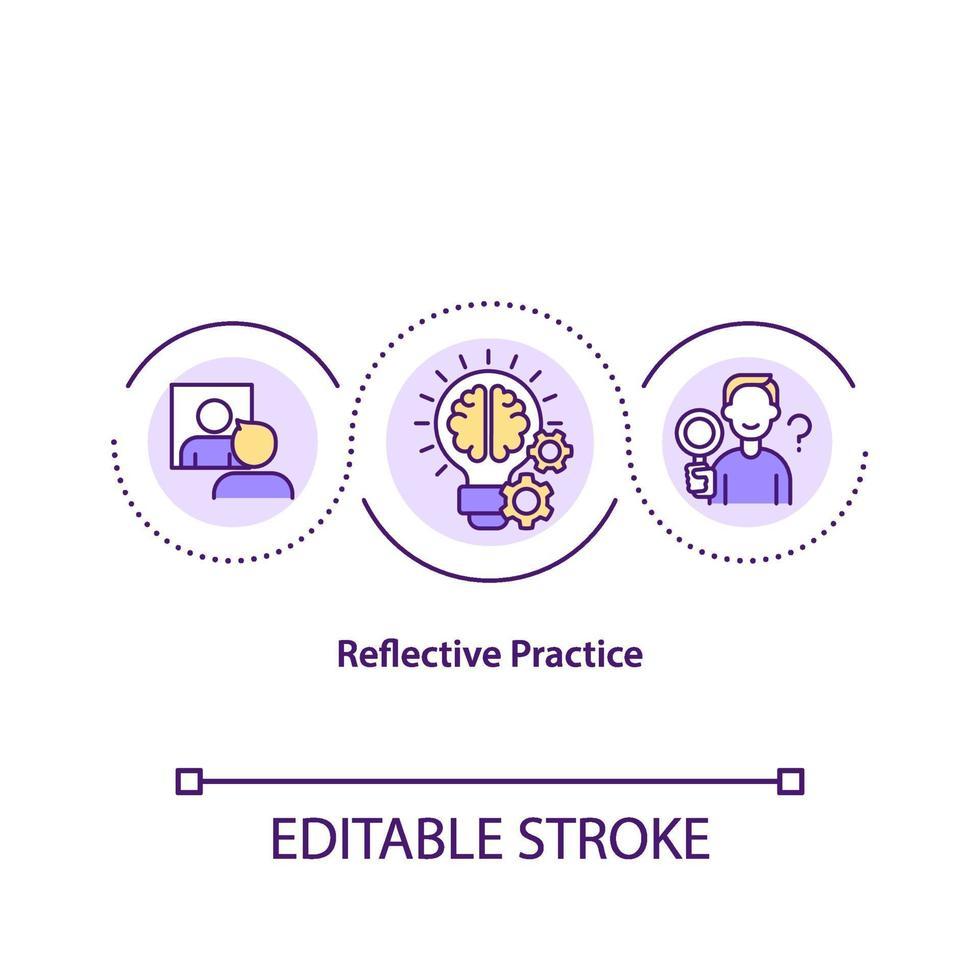 Symbol für das reflektierende Übungskonzept vektor