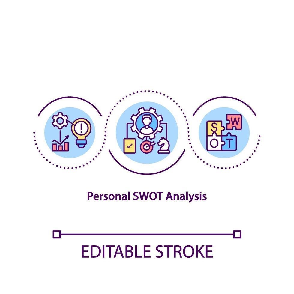 Symbol für das Konzept der persönlichen Swot-Analyse vektor