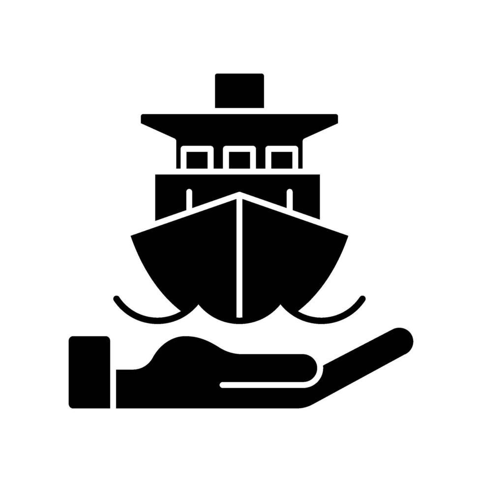 Seeversicherung schwarzes Glyphensymbol vektor