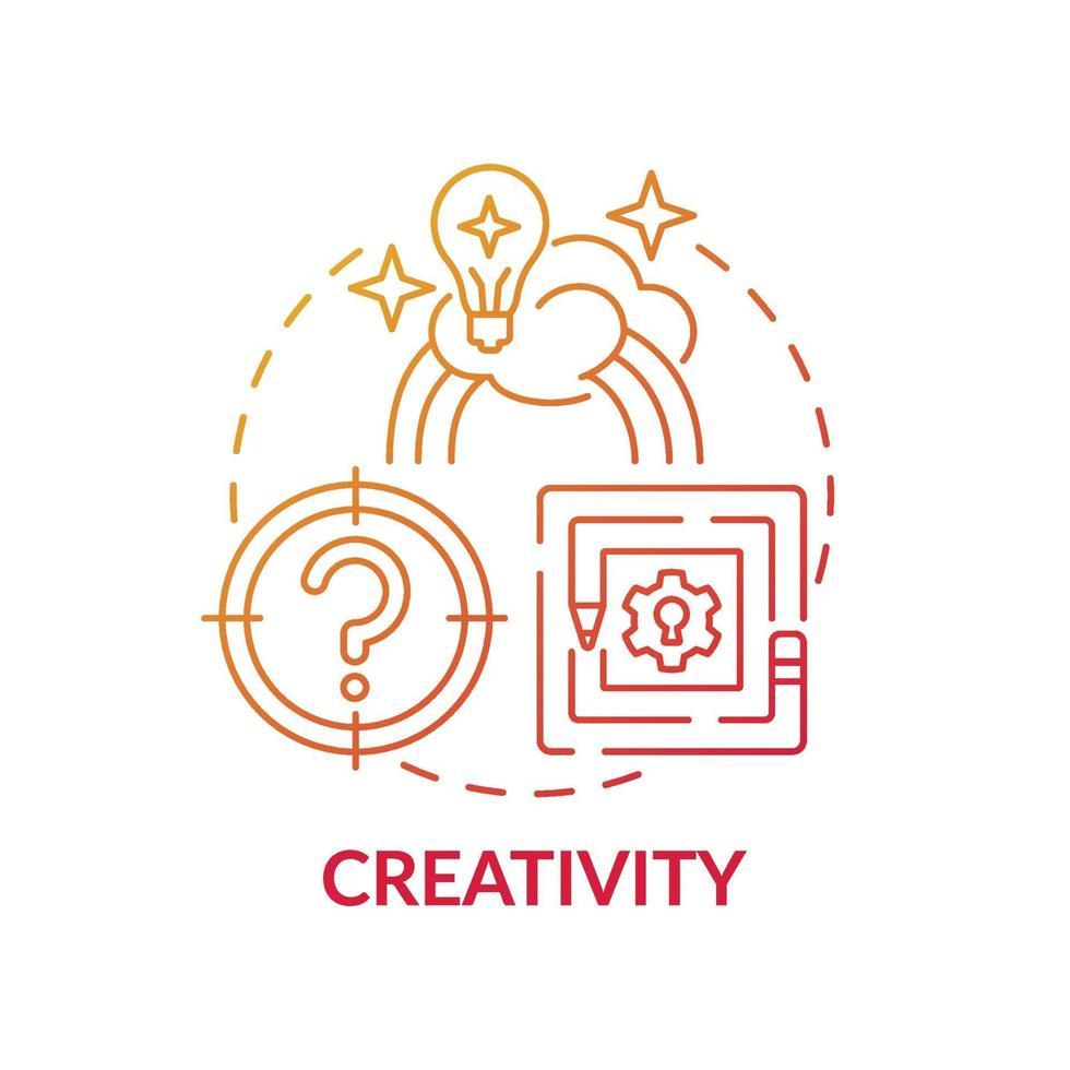kreativitet röd lutning koncept ikon vektor