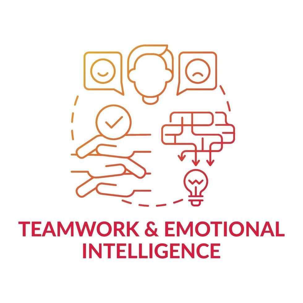 lagarbete och emotionell intelligens röd lutning koncept ikon vektor