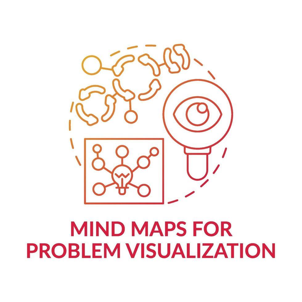Mind Maps für die Problemvisualisierung rotes Farbverlaufskonzept-Symbol vektor