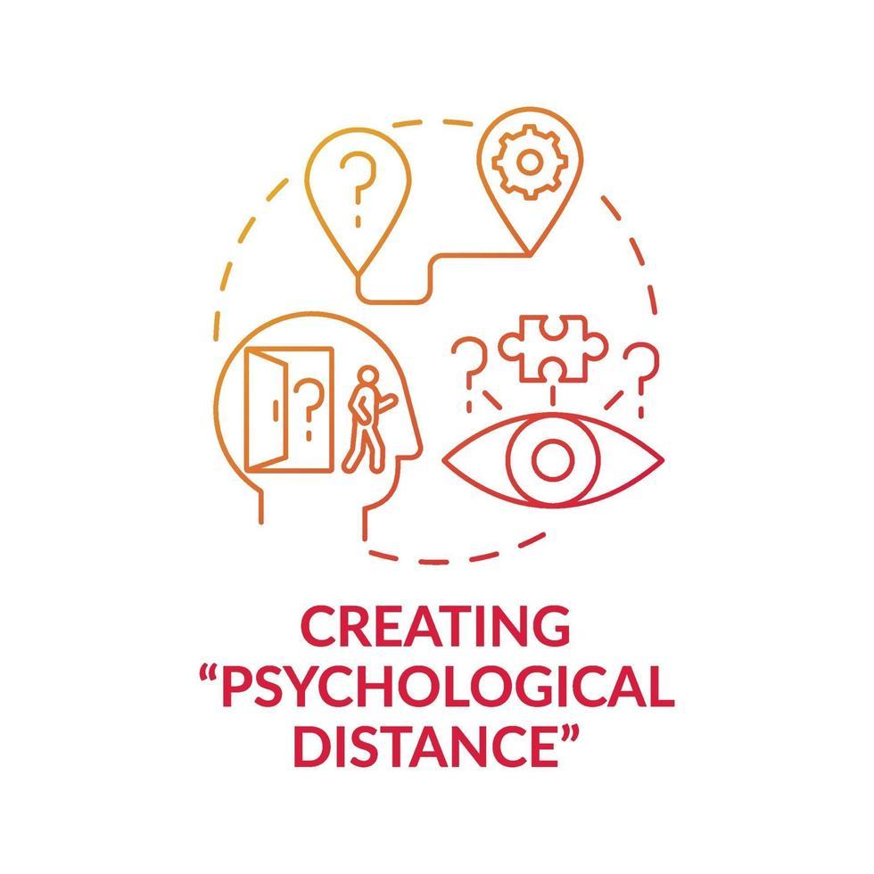 skapa psykologiska avstånd röda lutning koncept ikon vektor