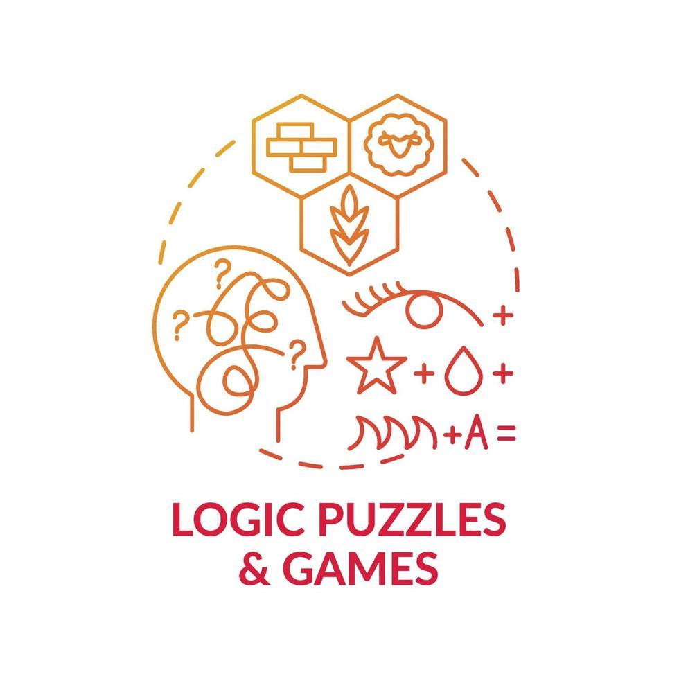logik pussel och spel röd lutning koncept ikon vektor