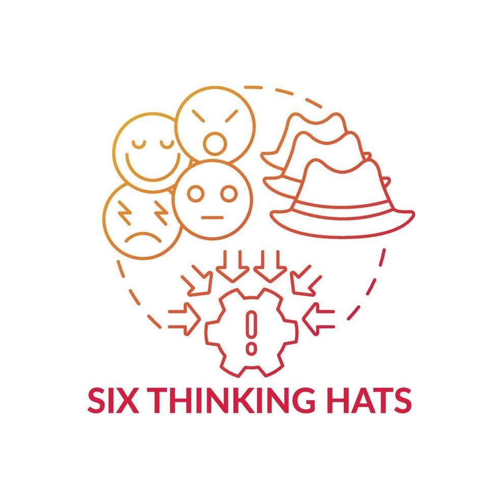 Sechs denkende Hüte rote Farbverlaufskonzeptikone vektor