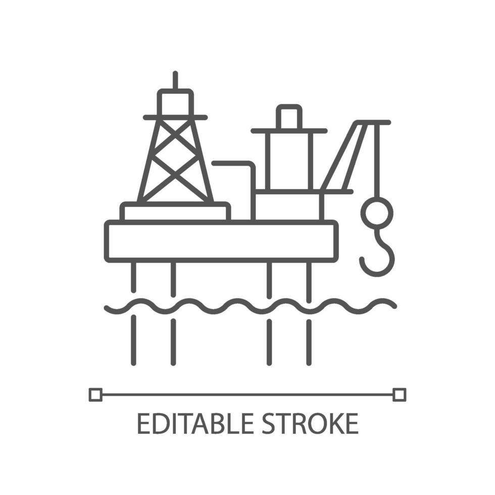 lineares Symbol der Offshore-Ölplattform vektor