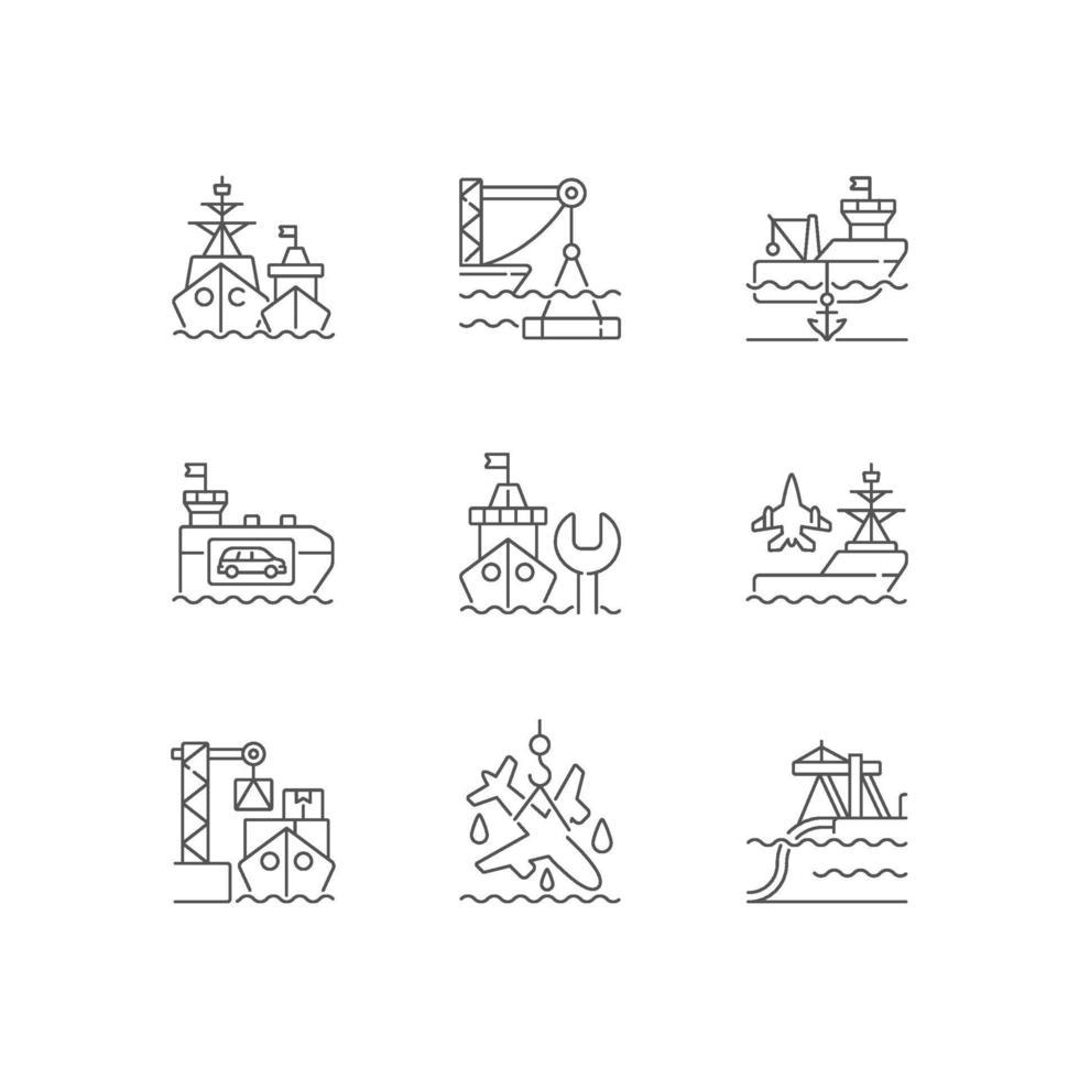 Schifffahrtsindustrie lineare Symbole eingestellt vektor