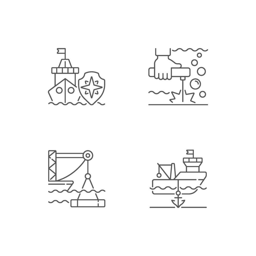 lineare Symbole der maritimen Industrie eingestellt vektor
