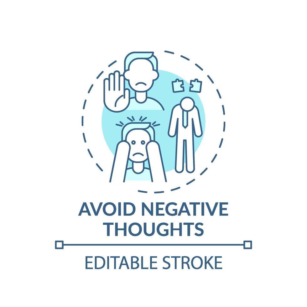 Vermeiden Sie negative Gedanken Türkis Konzept Symbol vektor