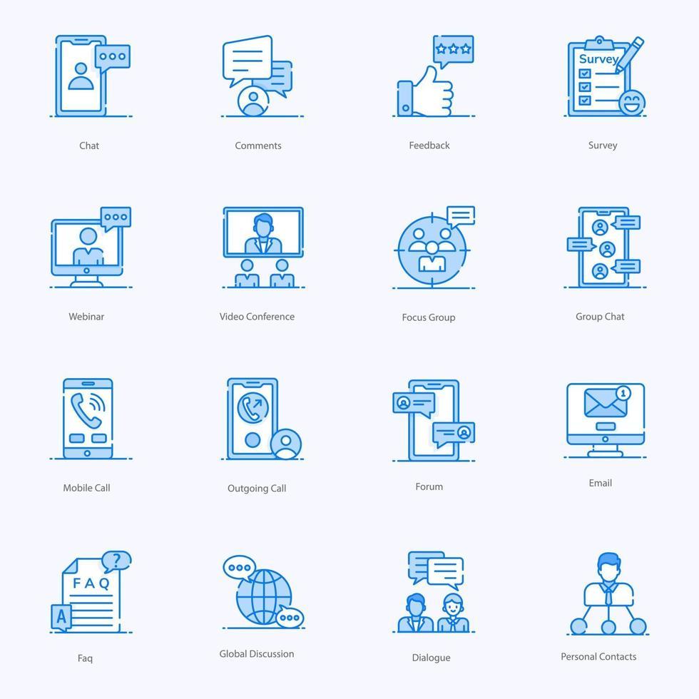 moderna ikoner för diskussion och kommunikation vektor