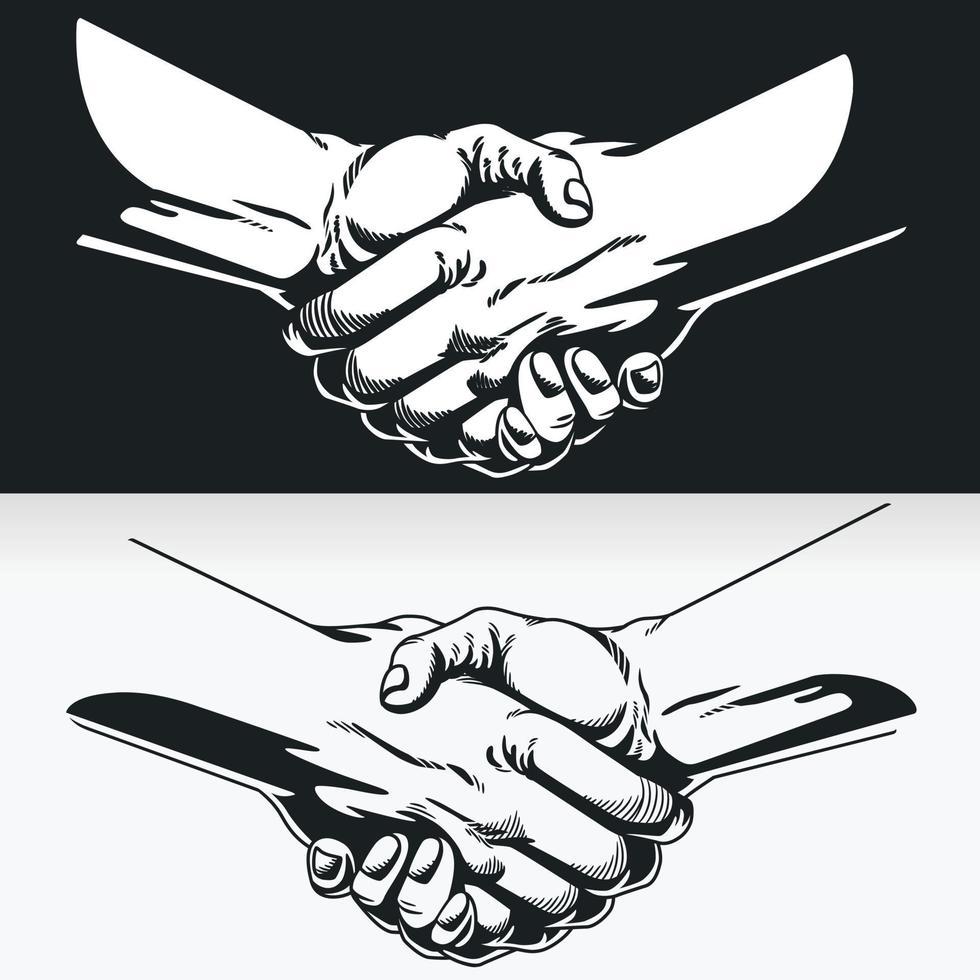 Silhouette des Handshakes, schwarze Umrissillustrationsschablonenzeichnung vektor