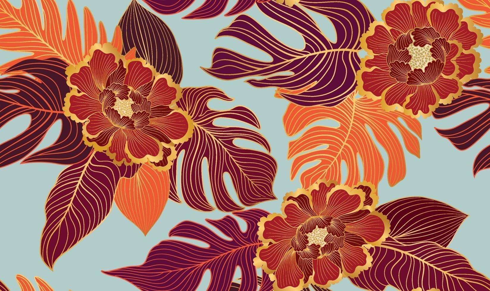 nahtloses Blumenmuster mit tropischen Blättern und Blüten. Natur üppiger Hintergrund. gedeihen Garten Textur mit Strichzeichnungen Blätter vektor