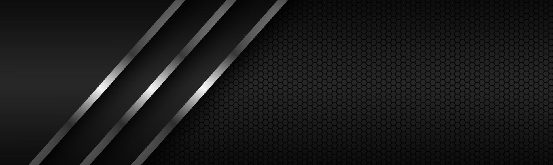 abstrakter Header mit silbernen Linien auf überlappenden Ebenen und polygonalem Muster. Vorlage für Ihr Banner und Ihre Präsentation. moderne Vektordesignillustration vektor