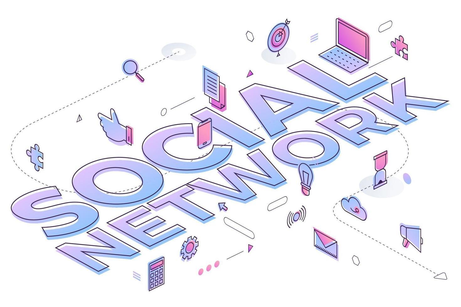 affärsord sociala nätverk vektor