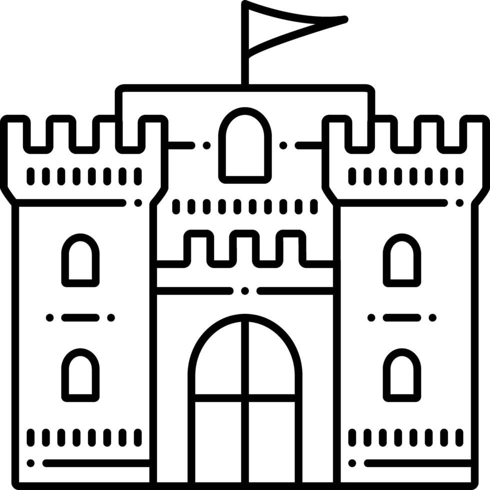 linje ikon för slott flagga vektor