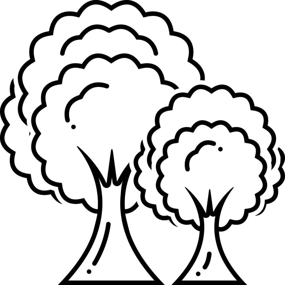 linje ikon för träd vektor