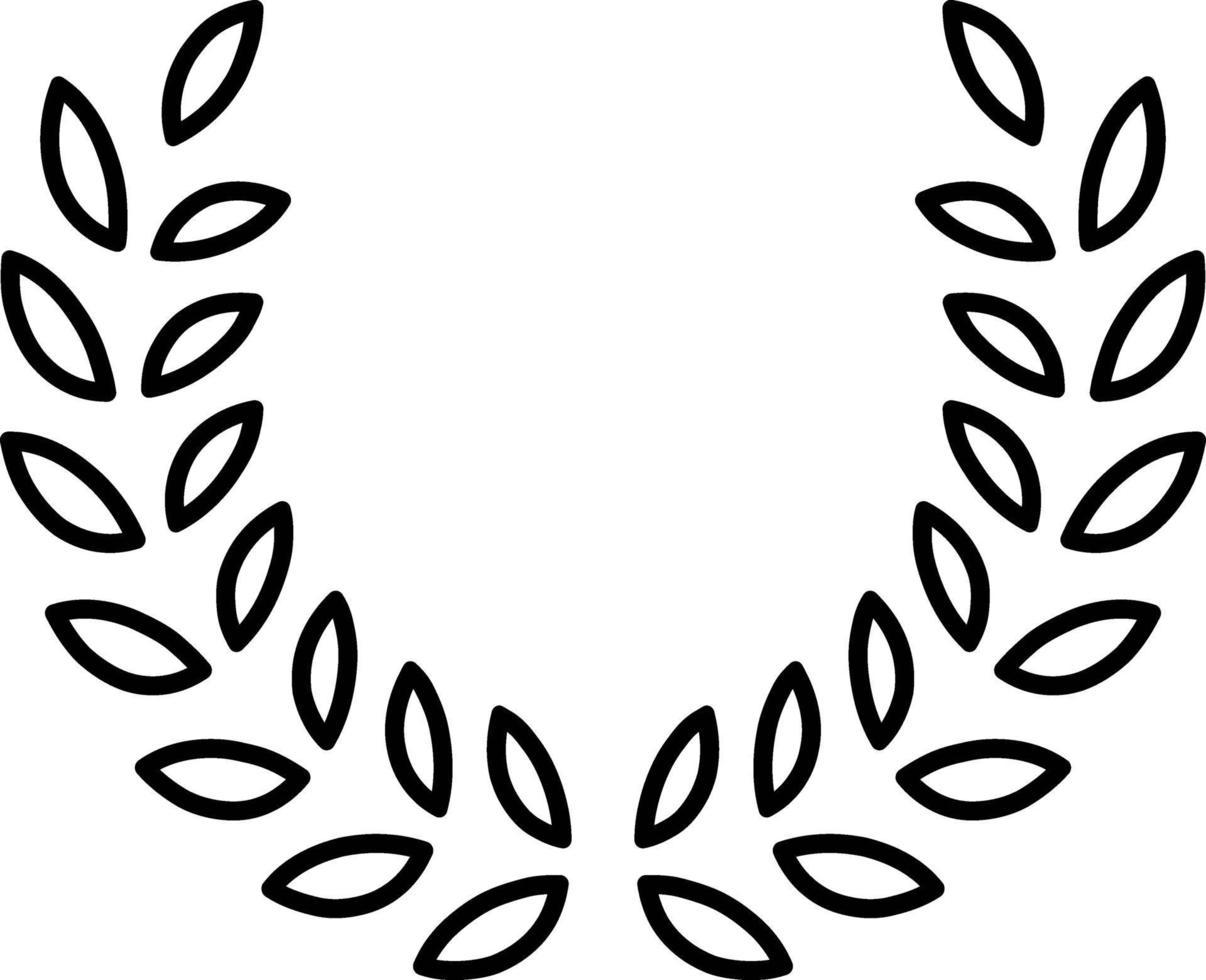 linje ikon för löv vektor