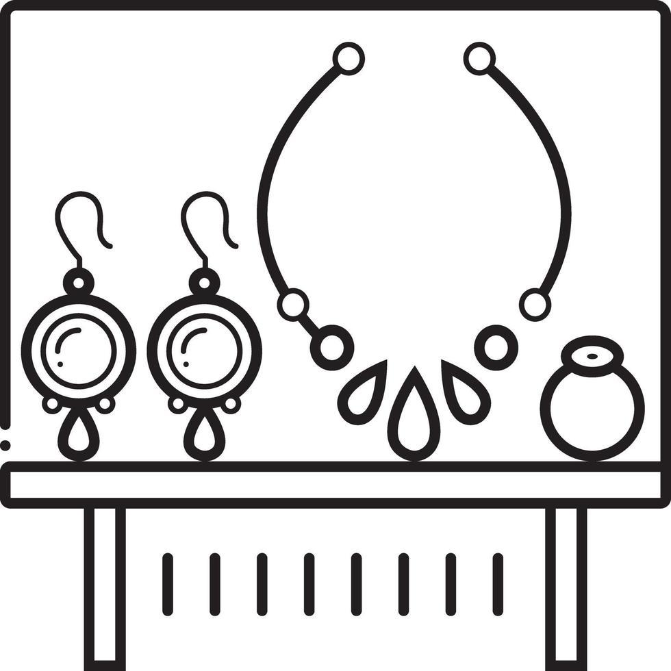 linje ikon för juvel vektor