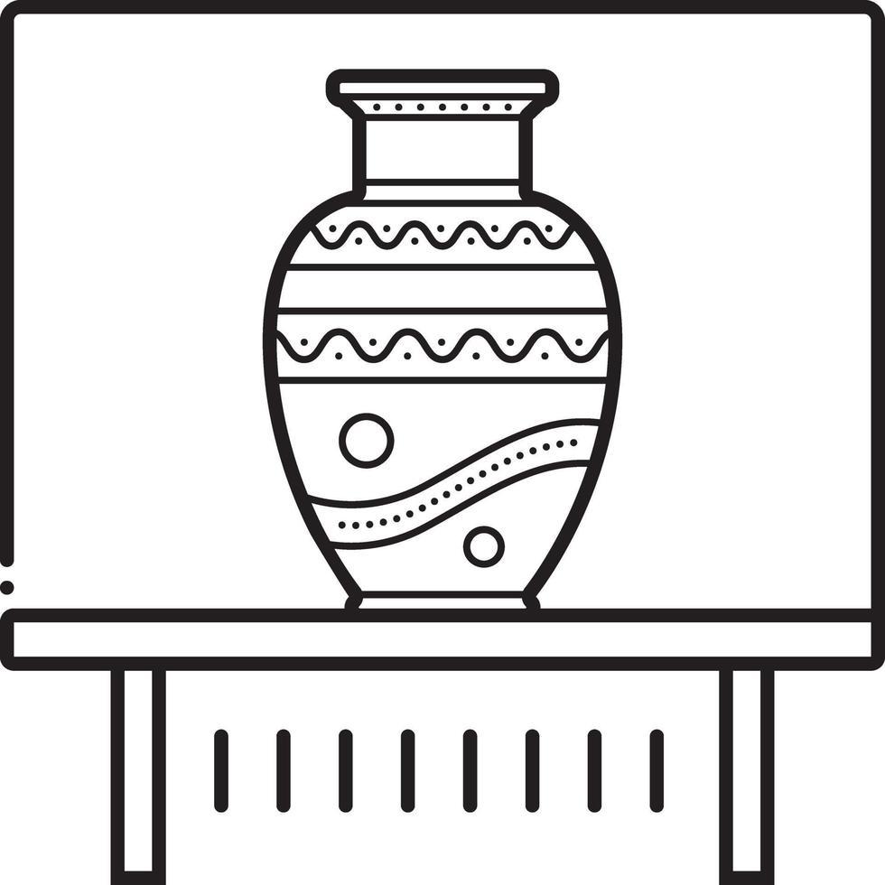 linje ikon för vas vektor