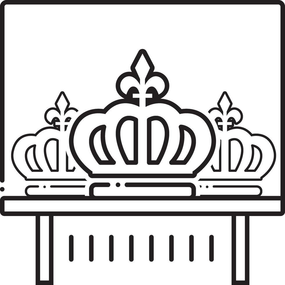 linje ikon för krona vektor