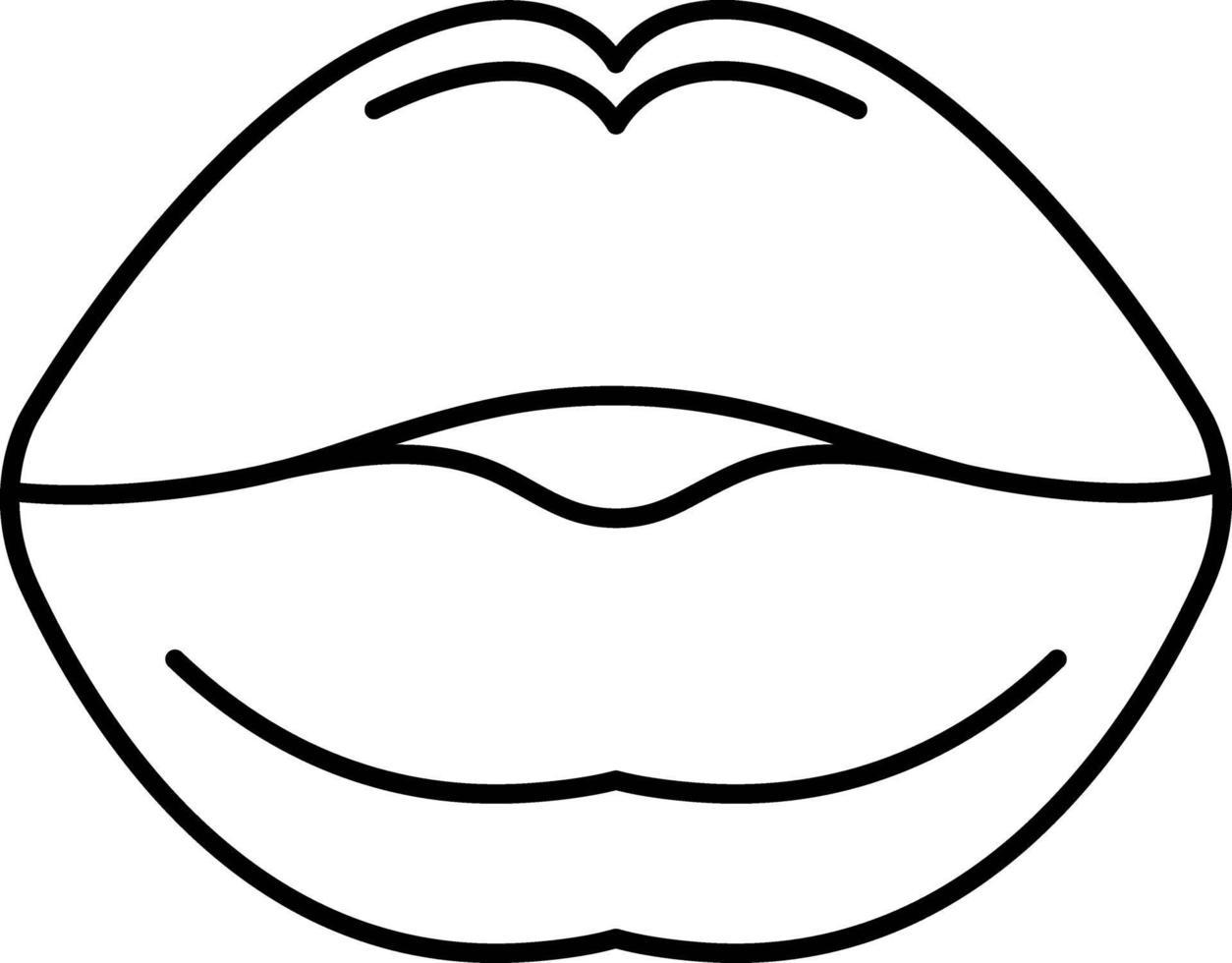 linje ikon för kyssar vektor