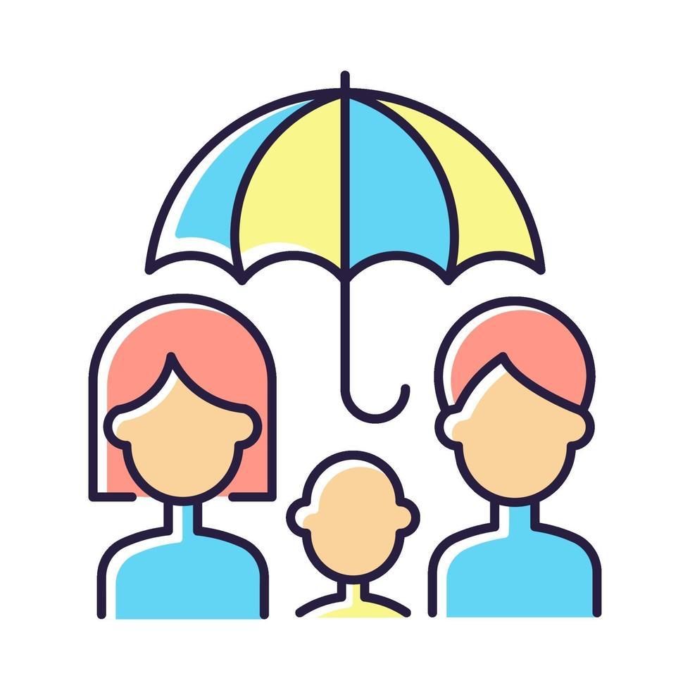 livförsäkring rgb färgikon vektor
