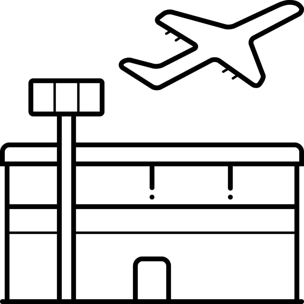 linje ikon för flygplats vektor