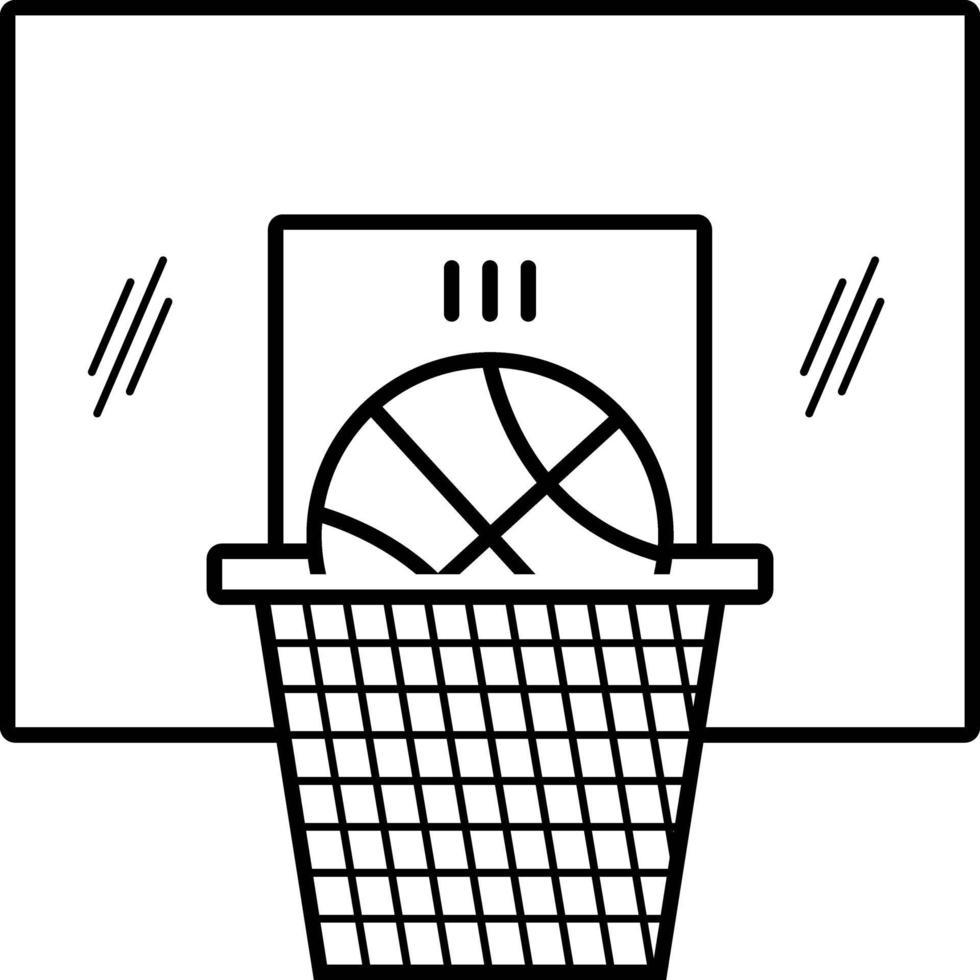 linje ikon för basket vektor