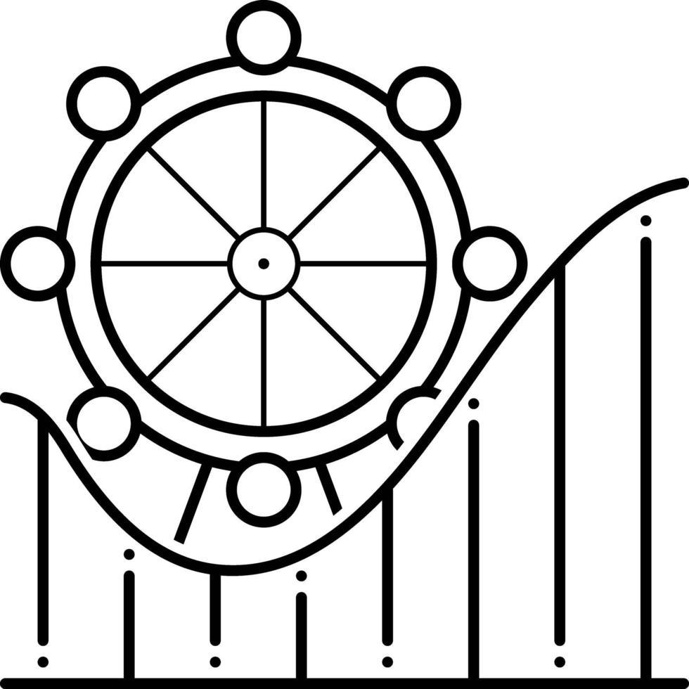 linje ikon för nöjespark vektor