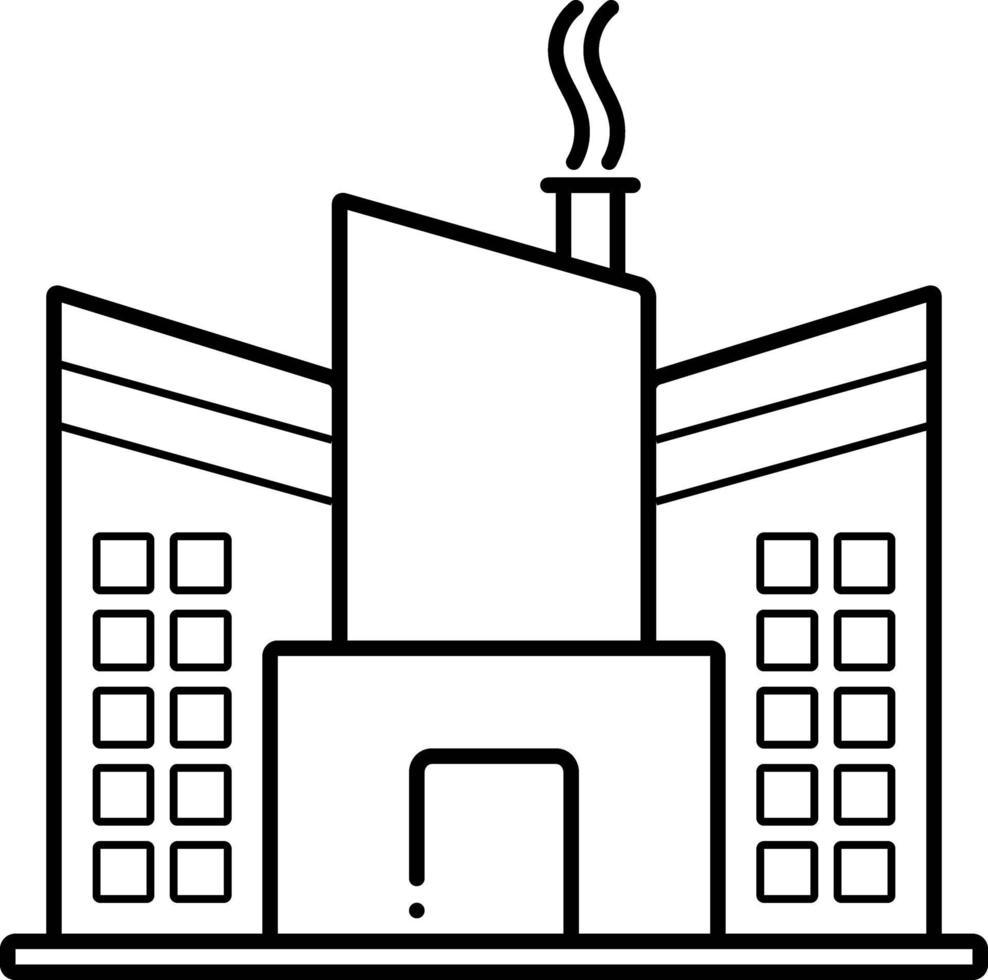 linje ikon för fabrik vektor