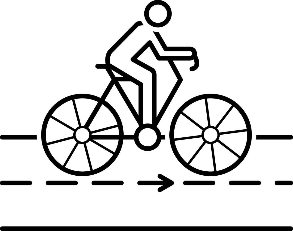 linje ikon för cykel vektor