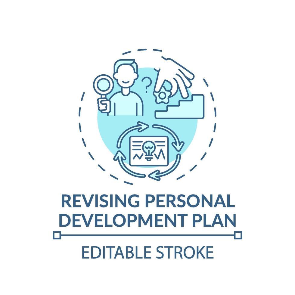 Überarbeitung der türkisfarbenen Konzeptikone des persönlichen Entwicklungsplans vektor