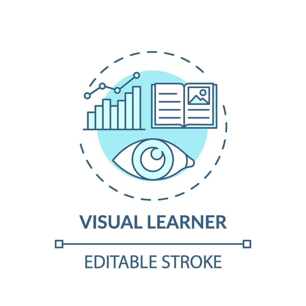 Türkis-Konzeptikone des visuellen Lerners vektor