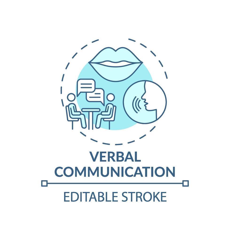 verbale Kommunikation türkisfarbenes Konzeptikone vektor
